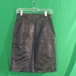Christopher kane sz 8 100% leather black skirt